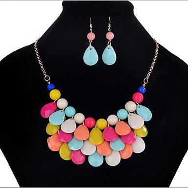 Mulheres Caído Conjunto de jóias Brincos / Colares - Vintage / Festa / Boêmio Arco-Íris Conjunto de Jóias Para Festa