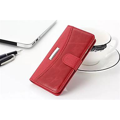 Custodia Per Apple iPhone X / iPhone 8 A portafoglio / Porta-carte di credito / Con chiusura magnetica Integrale Tinta unita Resistente vera pelle per iPhone X / iPhone 8 Plus / iPhone 8