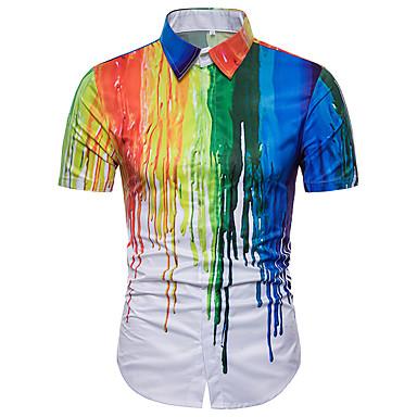 economico Magliette da uomo-Camicia - Taglie forti Per uomo Essenziale Arcobaleno Arcobaleno XL / Manica corta / Estate