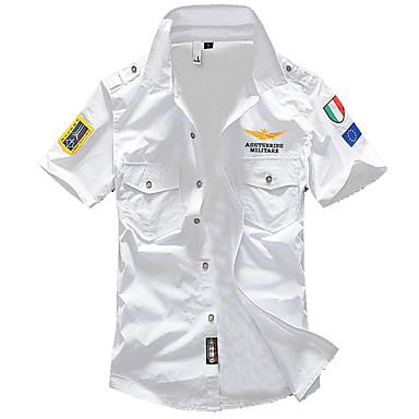 Camicia Per uomo Militare Basic, Tinta unita Colletto classico Bianco XXL / Manica corta / Estate / Taglia piccola