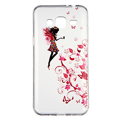 [$2.99] Case For Samsung Galaxy J3(2016) Transparent Pattern Back Cover Sexy Lady Flower Soft TPU for J3 (2016)