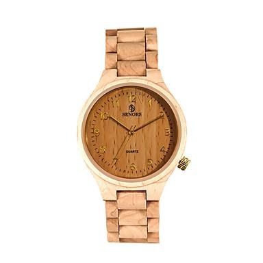 お買い得  メンズ腕時計-男性用 カジュアルウォッチ ファッションウォッチ 腕時計 ウッド 日本産 クォーツ ウッド ブラック / ブラウン / パープル 30 m 耐水 カレンダー ハンズ ヴィンテージ クール - ブラック パープル Brown 2年 電池寿命