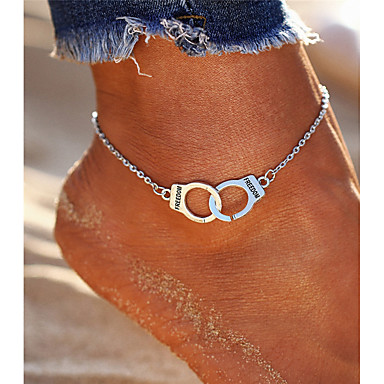 cheap Body Jewelry-Women's Anklet feet jewelry Double Handcuff Partners in Crime Alphabet Shape Ladies Vintage Bohemian Fashion Boho Anklet Jewelry Silver For Going out Bikini