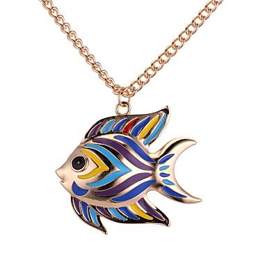 billige Mode Halskæde-Halskædevedhæng Fisk Damer Europæisk Mode Farverig Guld Sølv 62 cm Halskæder Smykker Til Daglig