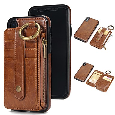 pouzdro pro iPhone xr xs xs max peněženka / držák na karty / s podstavcem pevné barvy z pravé kůže pro iPhone x 8 8 plus 7 7plus 6s 6s plus se 5 5s