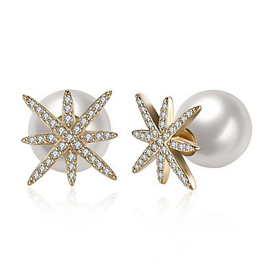 8554936040df abordables Pendientes-Mujer Zirconia Cúbica Perlas de agua dulce diamante  pequeño Pendientes cortos Perla Acero