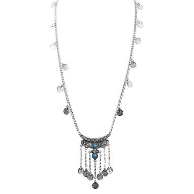 billige Mode Halskæde-Dame Turkis Halskædevedhæng Harpiks Damer Vintage Mode Sort Blå 70+6 cm Halskæder Smykker 1pc Til Daglig Stævnemøde