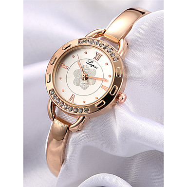 Women's Bracelet Watch Quartz Chronograph Wooden Imitation Diamond Alloy Band Analog Flower Bangle Rose Gold - White Black One Year Battery Life / SSUO LR626