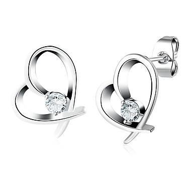billige Damesmykker-Diamant Kubisk Zirkonium Øredobber Magic Back Earring Hjerte Puls damer Mote øredobber Smykker Sølv Til Bryllup Daglig