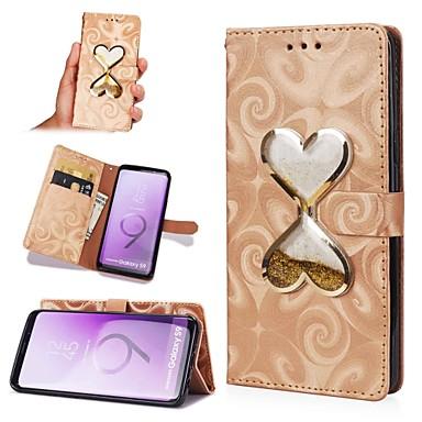 Недорогие Чехлы и кейсы для Galaxy S6-Кейс для Назначение SSamsung Galaxy S8 Plus / S8 / S7 edge Движущаяся жидкость Чехол С сердцем Твердый Кожа PU