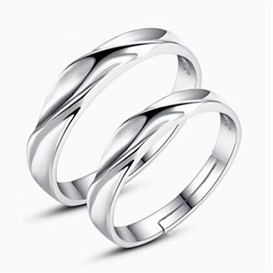 voordelige Fijne Sieraden-Voor Stel Ringen voor stelletjes Zilver Sterling zilver Dames Eenvoudig Klassiek Dagelijks Sieraden Passen bij Zijn en haar Twist Circle Vriendschap