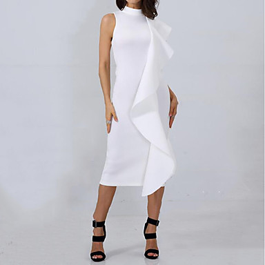 cheap White and Black Dresses-Women's Ruffle Party Work Street chic Sophisticated Slim Sheath Dress - Solid Colored Ruffle Crew Neck Summer Black Pink Wine M L XL / Sexy