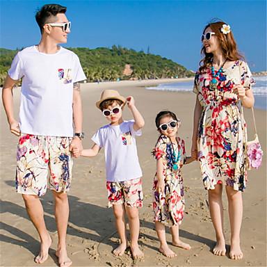 זול סטים של בגדים למשפחה-סט של בגדים שרוולים קצרים אחיד בסיסי משפחה
