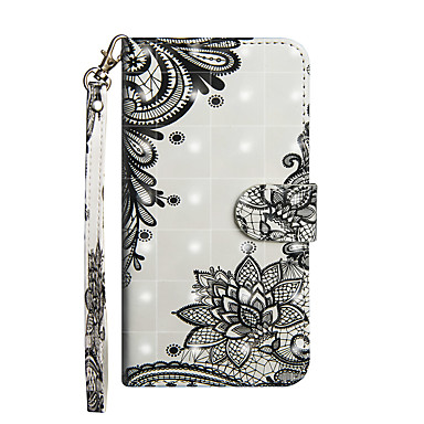 voordelige iPhone 5 hoesjes-hoesje Voor Apple iPhone X / iPhone 8 Plus / iPhone 8 Portemonnee / Kaarthouder / met standaard Volledig hoesje Cartoon / Lace Printing / Bloem Hard PU-nahka