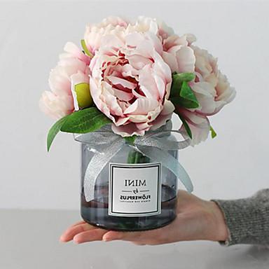 زهور اصطناعية 1 فرع كلاسيكي رجعي أوروبي الفاوانيا أزهار الطاولة