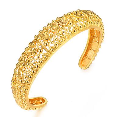 نسائي أشكال النحت أساور أساور اصفاد مطلية بالذهب سيدات عرقي سوار مجوهرات ذهبي من أجل مناسب للحفلات هدية