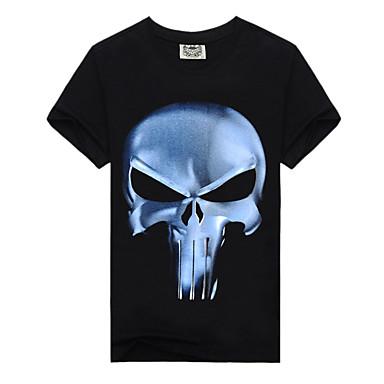 economico Abbigliamento uomo-T-shirt Per uomo Teschio Con stampe, Monocolore / Teschi Rotonda - Cotone Nero XL / Manica corta / Taglia piccola