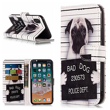 Недорогие Кейсы для iPhone-Кейс для Назначение Apple iPhone X / iPhone 8 Pluss / iPhone 8 Кошелек / Бумажник для карт / со стендом Чехол С собакой / Слова / выражения Твердый Кожа PU