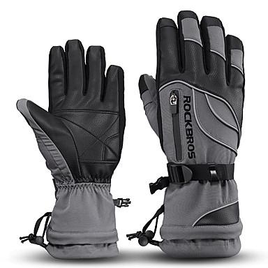 ROCKBROS اصبع كامل للجنسين دراجة نارية قفازات جلد / قماش مقاوم للماء / الدفء / غير زلة