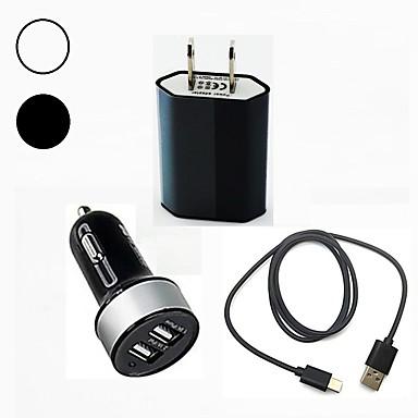 شاحن سيارة شاحن يو اس بي مقبس أمريكي / USB مع كابل / مخارج متعددة / QC 3.0 مخرجUSB 2 2.1 A 100~240 V / DC 12V-24V إلى S9 / S9 Plus / S8 Plus