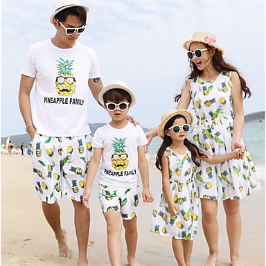 זול סטים של בגדים למשפחה-סט של בגדים שרוולים קצרים פירות חוף פעיל משפחה
