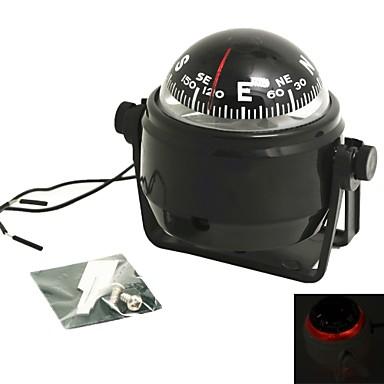 voordelige Sleutelhangers-draaibare kompas dashboard dash mount marine boot truck auto zwart met led-licht kompassen