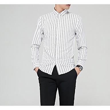 رجالي قطن قميص, مخطط / كم طويل
