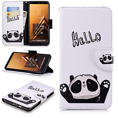 [$7.99] Case For Samsung Galaxy A6+ (2018) / A6 (2018) Wallet / Card Holder / with Stand Full Body Cases Word / Phrase / Panda Hard PU Leather for