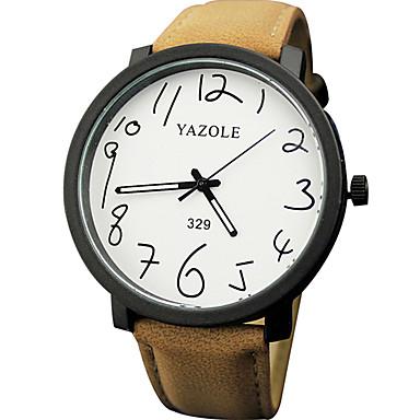 Χαμηλού Κόστους Ανδρικά ρολόγια-YAZOLE Ανδρικά Ρολόι Καρπού Χαλαζίας Συνθετικό δέρμα με επένδυση Μαύρο / Καφέ Νυχτερινή λάμψη Καθημερινό Ρολόι Αναλογικό Μοντέρνα Μινιμαλιστική - Μαύρο Καφέ