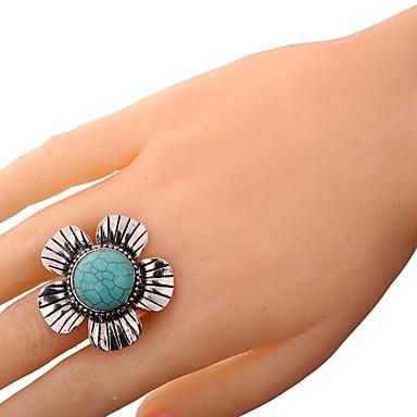 نسائي خاتم فيروز 1PC فضي سبيكة سيدات عتيق مناسب للبس اليومي مجوهرات 3D وردة