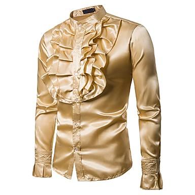رجالي مناسب للحفلات / نادي عتيق / أساسي كشكش قميص, لون سادة رقبة طوقية مرتفعة / كم طويل