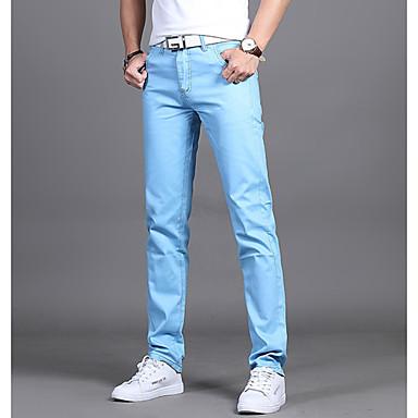 رجالي أساسي مناسب للبس اليومي نحيل بدلة بنطلون - لون سادة أزرق فاتح أخضر داكن كاكي 31 32 28