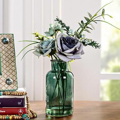 زهور اصطناعية 1 فرع كلاسيكي فردي النمط الرعوي الورود أزهار الطاولة