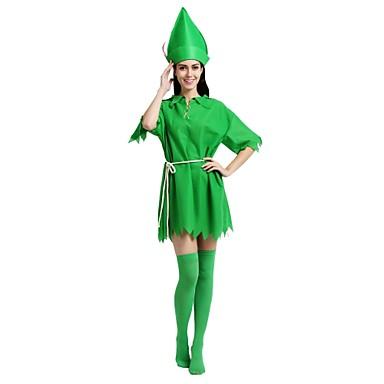 روبن هود كوستيوم للجنسين المدرسة الثانوية Halloween Halloween مهرجان حفلة تنكرية عطلة / عيد بوليستر ملابس أخضر غامق لون سادة Halloween