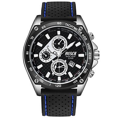 זול שעוני גברים-BOSCK בגדי ריקוד גברים שעון יד קווארץ סיליקוןריצה שחור 30 m עמיד במים לוח שנה עיצוב חדש אנלוגי פאר אופנתי - לבן שחור כחול / זוהר בחושך