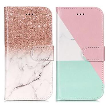 Недорогие Чехлы и кейсы для Galaxy S6 Edge-Кейс для Назначение SSamsung Galaxy S9 / S9 Plus / S8 Кошелек / Бумажник для карт / со стендом Чехол Мрамор Твердый Кожа PU
