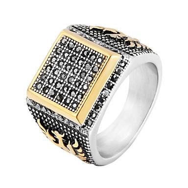رجالي خاتم البيان خاتم الخاتم 1PC ذهبي الفولاذ المقاوم للصدأ بانغك شائع هيب هوب زفاف حفلة تنكرية مجوهرات أشكال النحت كوول