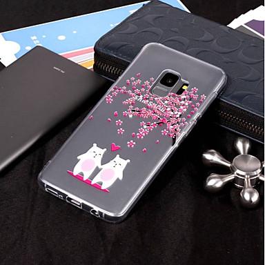 Недорогие Чехлы и кейсы для Galaxy S6 Edge-Кейс для Назначение SSamsung Galaxy S9 / S9 Plus / S8 Plus IMD / Прозрачный / С узором Кейс на заднюю панель Животное / Цветы Мягкий ТПУ