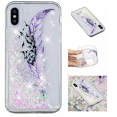 iPhone 8 X X cascata Morbido Custodia Liquido Per Plus iPhone 8 a Apple iPhone Glitterato 8 per Fantasia Piume 06828204 retro Plus Per iPhone disegno iPhone Glitterato TPU wxRXzx