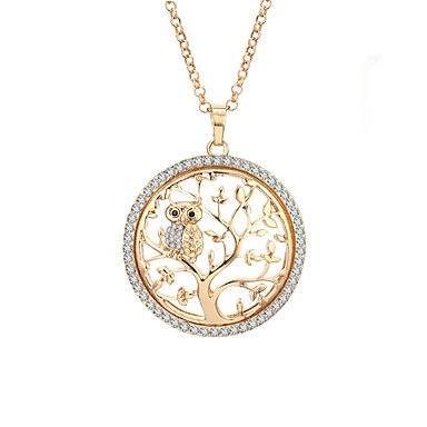 cheap Rose Gold Necklaces-Women's AAA Cubic Zirconia Statement Necklace Rope Tree of Life life Tree Ladies Holiday Aristocrat Lolita Folk Style Rhinestone Alloy Gold Silver Rose Gold 65 cm Necklace Jewelry 1pc For Gift