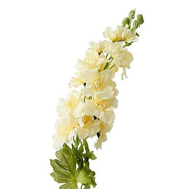 زهور اصطناعية 1 فرع كلاسيكي زهري الدافينيومات أزهار الطاولة