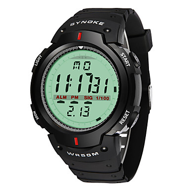 זול שעוני גברים-SYNOKE בגדי ריקוד גברים שעוני ספורט שעון דיגיטלי דיגיטלי דמוי עור מרופד שחור 30 m עמיד במים לוח שנה כרונוגרף אנלוגי דיגיטלי אופנתי - שחור אפור / זוהר בחושך / צג גדול