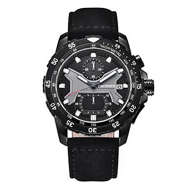 CADISEN رجالي ساعة رياضية كوارتز جلد اصطناعي أسود 30 m رزنامه ساعة التوقف قضية مماثل موضة - أسود أسود / أبيض سنتان عمر البطارية / طرد كبير