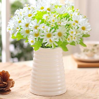 زهور اصطناعية 1 فرع كلاسيكي أنيق الإقحوانات أزهار الطاولة