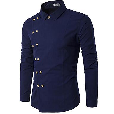 رجالي قميص لون سادة أسود L / مرتفعة / كم طويل