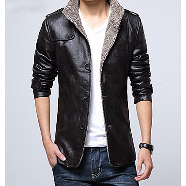 da3b2df4134 cheap Men  039 s Jackets-Men  039 s Daily Street chic. Men s Daily Street  chic Fall   Winter Regular Leather ...