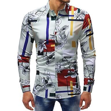 رجالي أساسي طباعة قطن قميص, مخطط / ورد / ألوان متناوبة نحيل / كم طويل