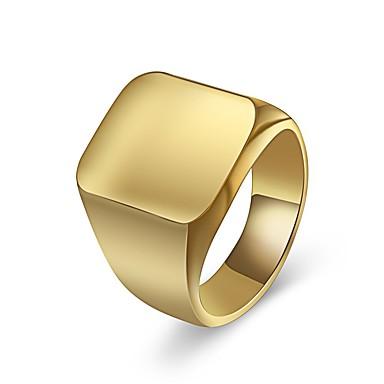 رجالي خاتم خاتم الخاتم 1PC ذهبي فضي الصلب التيتانيوم مربع عارضة / رياضي هندسة مناسب للبس اليومي مناسب للخارج مجوهرات كلاسيكي