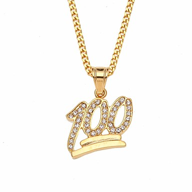 db7876ccc5a Men s Cubic Zirconia Cuban Link Pendant Necklace Chain Necklace Rhinestone  Steel Stainless Number European Hip-