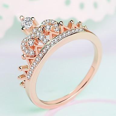 d500d73a3738 Mujer Elegante Anillo Anillo Midi Chapado en Plata Rosa Oro Plateado  Diamante Sintético Corona damas De moda ...